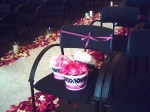 The flowergirls' handmade baskets waiting beside the aisle.